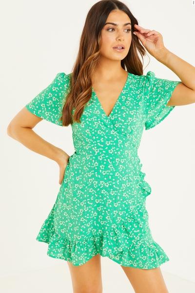Petite Green Floral Wrap Skater Dress